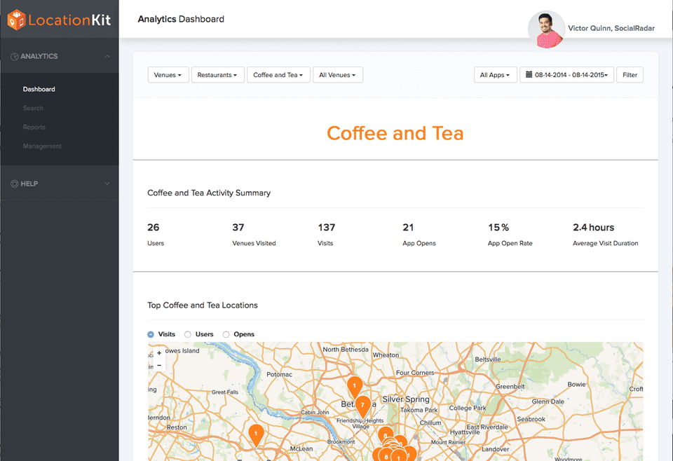 LocationKit Coffee and Tea Dashboard Screenshot