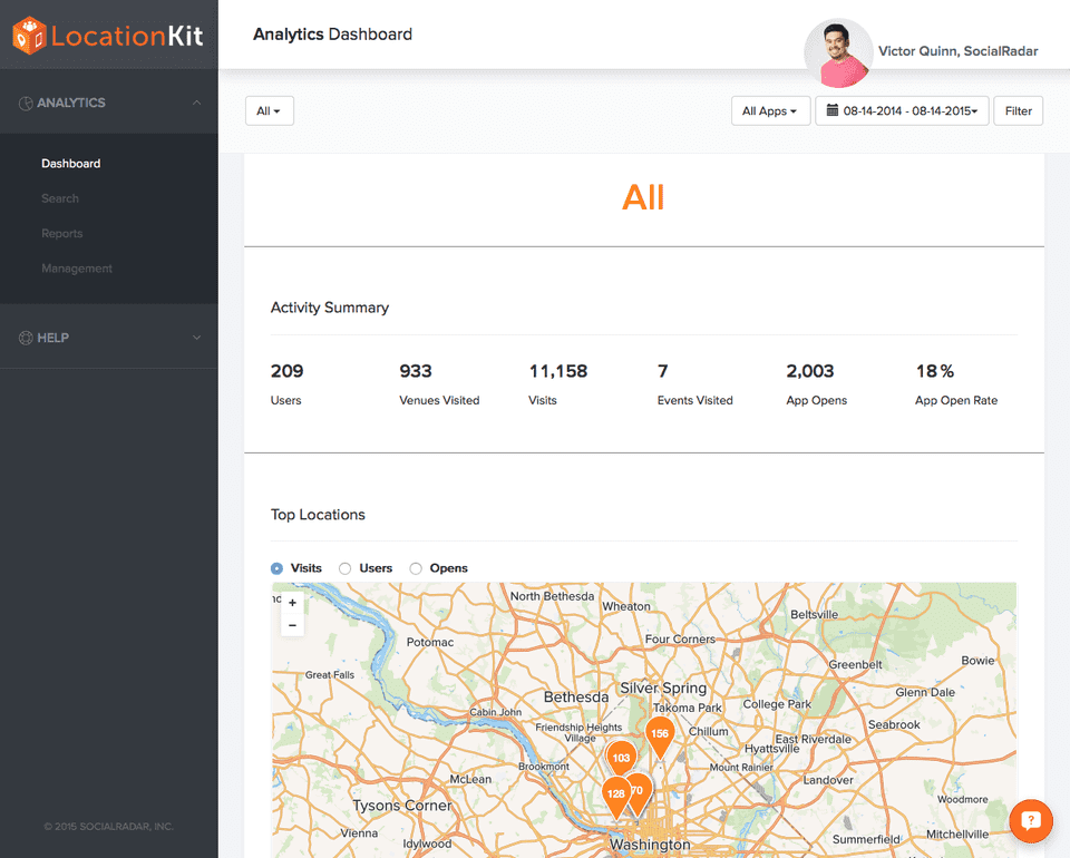 LocationKit Analytics Dashboard Screenshot